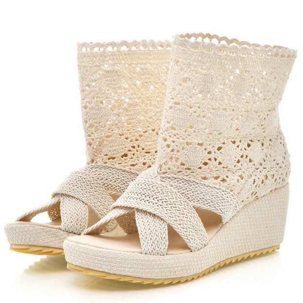 1e374e08c12 Summer Fashion Hollow Out Knitted Crochet Wedge Ankle Boots Platform Sandals  Rome Comfortable Sandals Chaussures Big Size 43