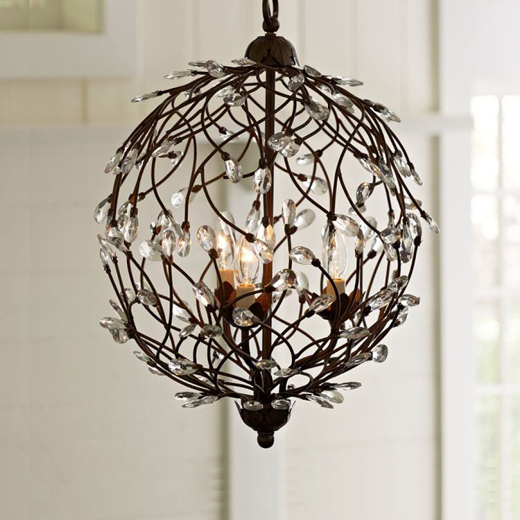 nordic American Modern Crystal Chandelier Tree branches ball black iron for living room Bedroom Kitchen hanging lighting 40|modern crystal chandelier|chandelier black iron|crystal modern chandeliers - title=