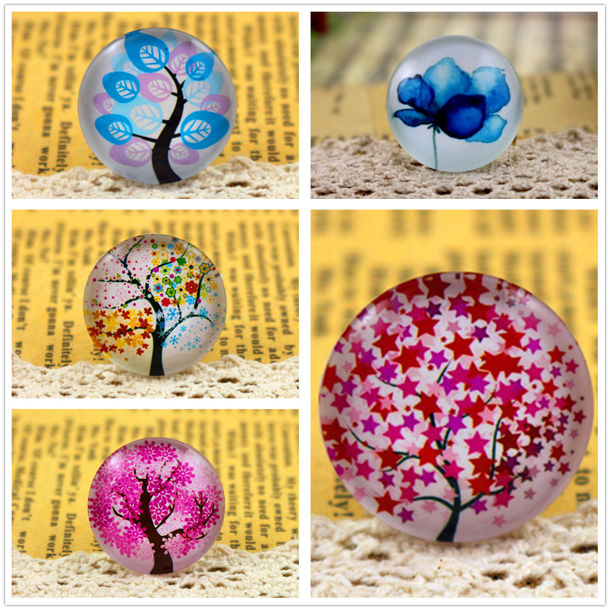 Hot Sale 5pcs/Lot 25mm Handmade Photo Glass Cabochons (Leaves And Tree Series)