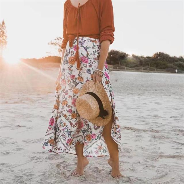 1369b267de59e 2018 Summer Boho floral print Beach Midi skirt Women casual High Waist  Bohemia irregularity Ruffles Hem Tutu skirts Z683-in Skirts from Women's ...