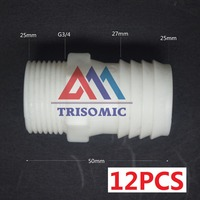 12 Pieces 25mm G3 4 Straight Connector Plastic Pipe Fitting Barbed With Thread Material PE Joiner