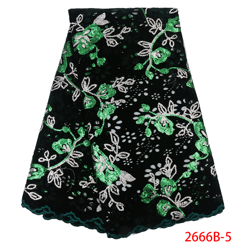 Green Flower Pattern Sequins Lace Fabrics African Tulle Lace for Wedding Party High Quality Velvet Lace