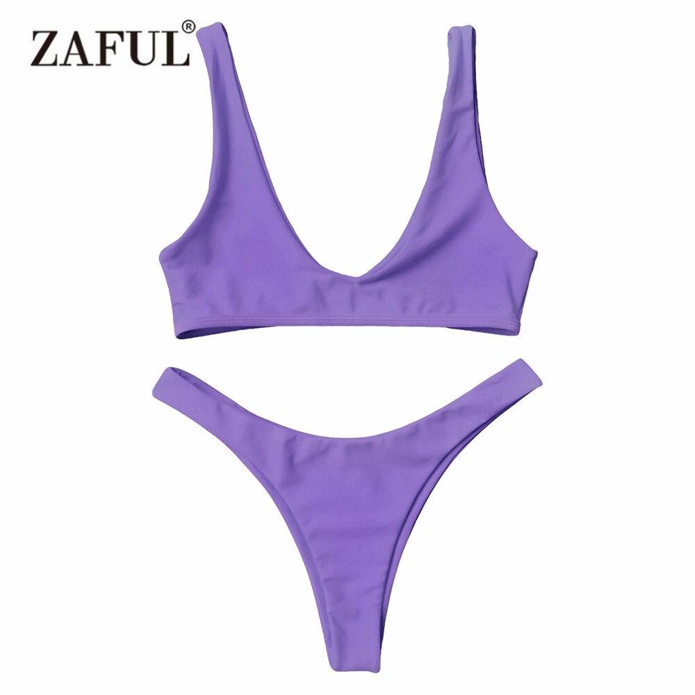 Zaful 2017 Women New High Cut Scoop Neck Bikini Set Low waisted Bralette Scoop Neck Solid Color Swimsuit Bathing Suits Bikini contrast color low cut v neck bikini top