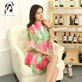 [YWJUNFU] nueva Scarve Seda Para Mujer Flor de la Impresión Bufanda de La Señora Larga de La Gasa Del Mantón 150*200 cm Girls Beach Bufandas Otoño Abrigos de seda