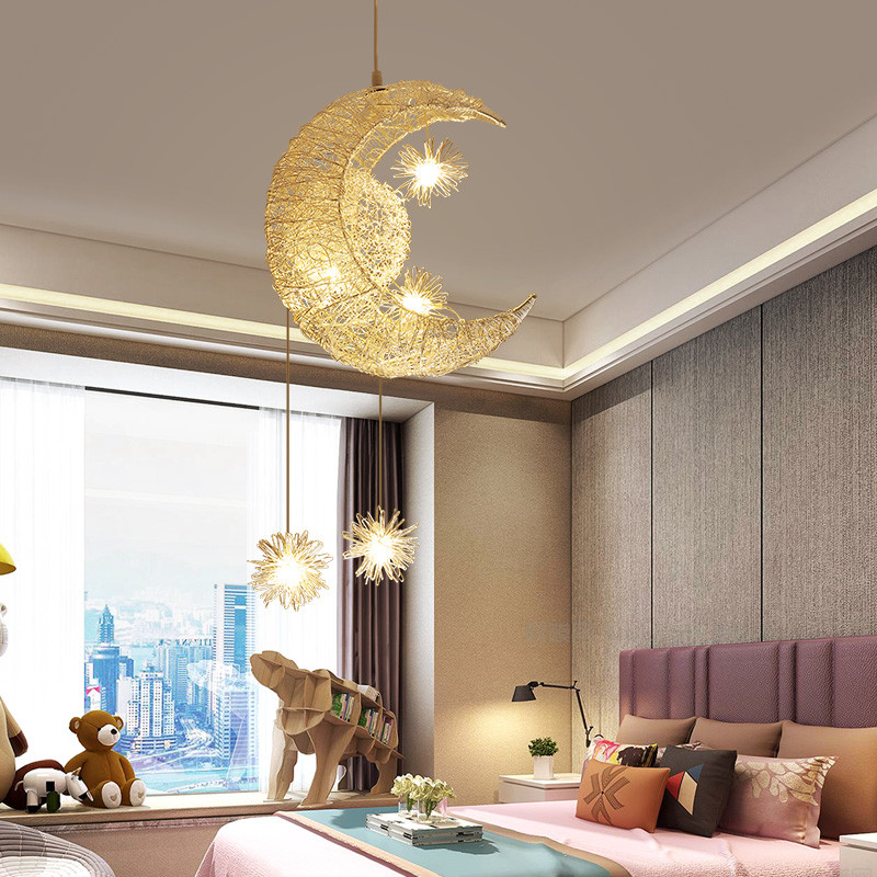 Moon Lights Bedroom: Moon Stars Loft Led Pendant Lights Bedroom Hanging Lamp