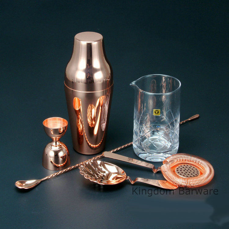 gold color french style cocktail shaker bartending tools bar sets 6 pieces including mixing glass