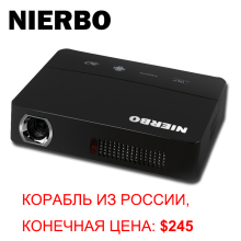 NIERBO Pocket Android Projector with Battery 3D Video Projector 1280*800 NativE Projector with HDMI USB Support 1080P Full HD