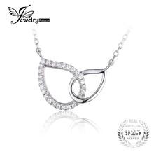 Jewelrypalace 925 cubic zirconia teardrop collar de cadena pendiente del collar de 18 pulgadas de la manera para las mujeres