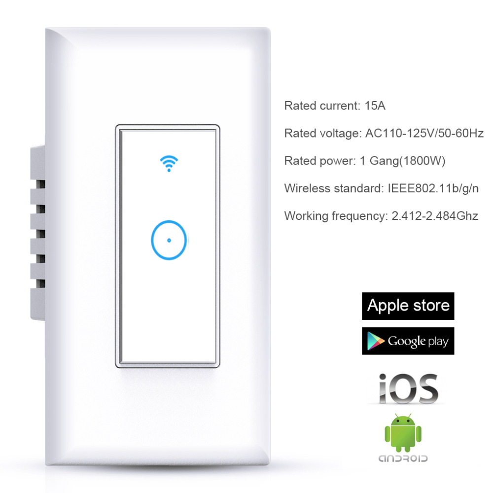 WIFI Wireless Remote Control Switch For AppUS Standard Plug Smart Home Wall Light Switch 1 Gang Work With Google Home-in Remote Controls from Consumer Electronics