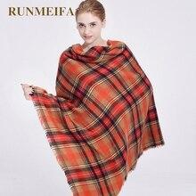 RUNMEIFA winter sjaal 2016 Tartan Sjaal vrouwen Plaid Sjaal cuadros Nieuwe Designer Unisex Acryl Basic