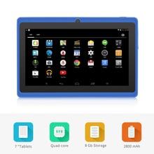 "Envío libre 7 ""A33 Quad Core 1.5 GHz cuatro Colores Q88 7 pulgadas Tablet PC 1024×600 de Doble Cámara de 2500 mAh 8 GB"
