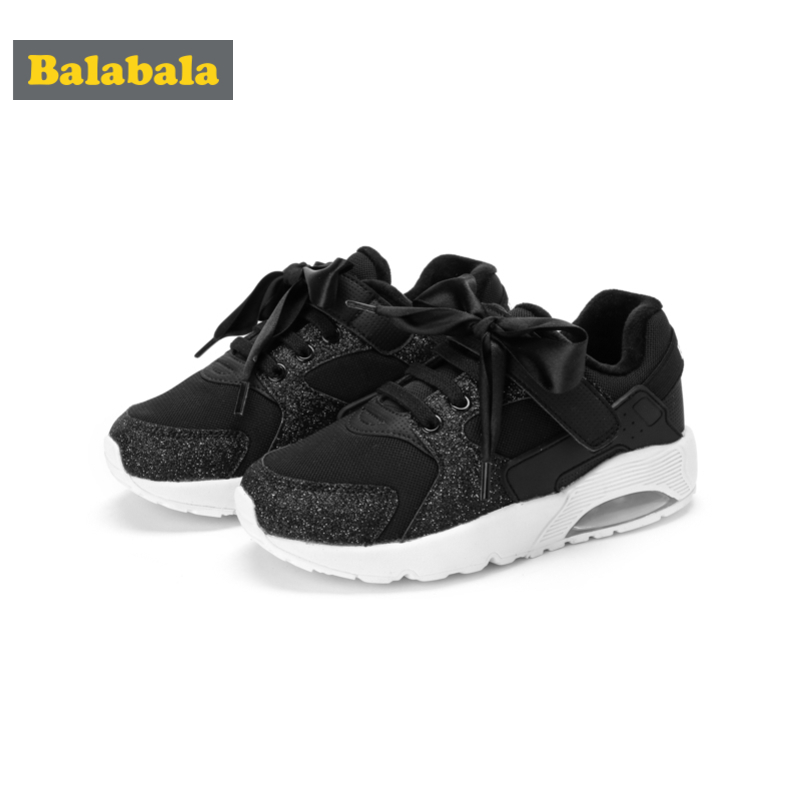 Balabala Girls Fleece-Lined Cushion Shoes with Decorative Ribbon Silk Tie Kids Toddler Girl Running Shoes with Glittery Detail