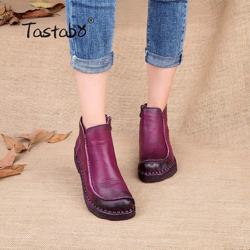 Tastabo/2017 Модные женские ботинки ручной работы, ботильоны из натуральной кожи, винтажная женская обувь для мам, Ботинки martin с круглым носком