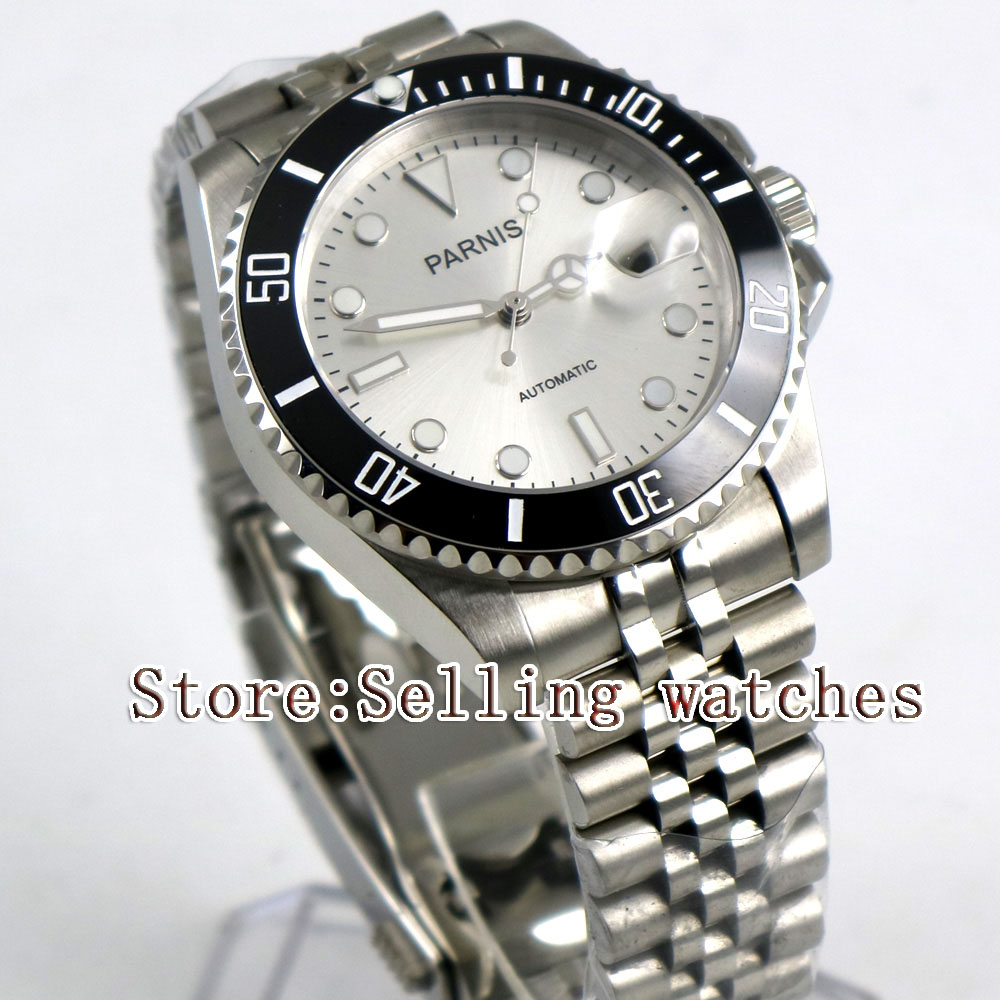 цена 40mm Parnis white Dial Black Ceramic Bezel Jubilee Style Strap Sapphire Glass MIYOTA Automatic Mens Watch steel case онлайн в 2017 году