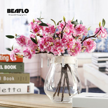 1PC Mini Vivid Artificial Flower Cherry Blossom Sakura Double Petals Handmade For Wedding Christmas Party Decorative 4 Colours