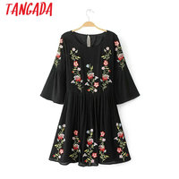 Tangada Boho Style Women Vintage Floral Embroidery Dress Flare Sleeve O neck Elastic Waist Dress Black Casual Brand Vestido TL10