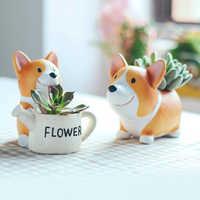 1pc Creativo Della Resina Corgi Succulente Vasi di Piante Mini Vaso di Fiori Decorativo Desktop di Vaso di Fiori Fata Giardino di Casa Decorazione del Giardino