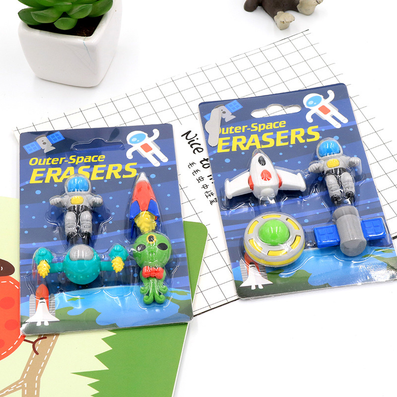 4 Pcs/set Creative Boy Flying Saucer&alien&spaceship Shape Rubber Eraser Kawaii Stationery School Supplies Papelaria Kids Gift