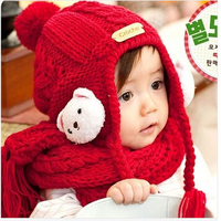 Newborn Photography Props Baby Cap For Children Winter Ear Hat Scarf Boy And Girl Infant Crochet