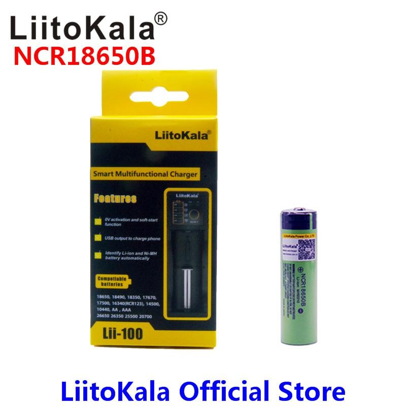 LiitoKala 18650 3400 mAh 18650 Li-ion Rechargeable Batterie (PAS de PCB) + Lii-100 USB Lithium NiMH Chargeur de Batterie Intelligent
