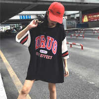M-2XL Plus Size Harajuku T Shirt Mulheres O Pescoço Meia Manga Longa Camisetas Encabeça Tee Fêmea Do Sexo Feminino Casual Solta Mulher F2
