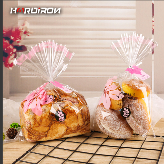 HARDIRON 100pcs Bread Bags Classic Toast Packaging Plastic Flat Bags Baked Goods Packaging Pouch Pink Cherry Blossom Packet