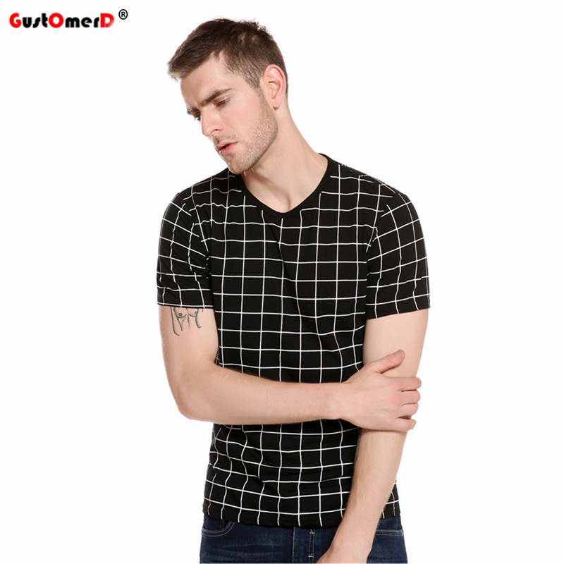 2017 new summer plaid print t shirt men short sleeve o