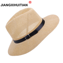 171c9f8823a 2018 NEW straw hat Men Fedora Hats with Belt Vintage Women Trilby Caps  summer Fedora UV