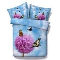 Biancheria da letto e trapunte set doppia dimensione 3D Blu farfalla viola floreale copripiumino doona della trapunta lenzuola regina super king doppio