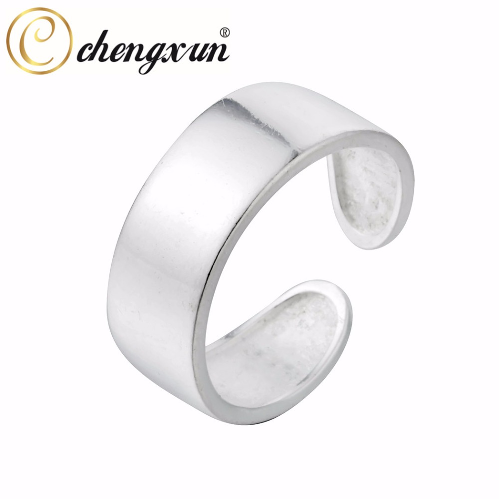 CHENGXUN New Silver Wide Round Cut Rings Knuckle Band Wedding Engagement Jewelry Men Women Simple Band Adjustable silver