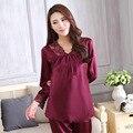Новая осень Женская сна и lounge одежда сексуальная выдалбливают кружева v-образным вырезом домашней одежды 4 цвета пижамы femme домашняя одежда