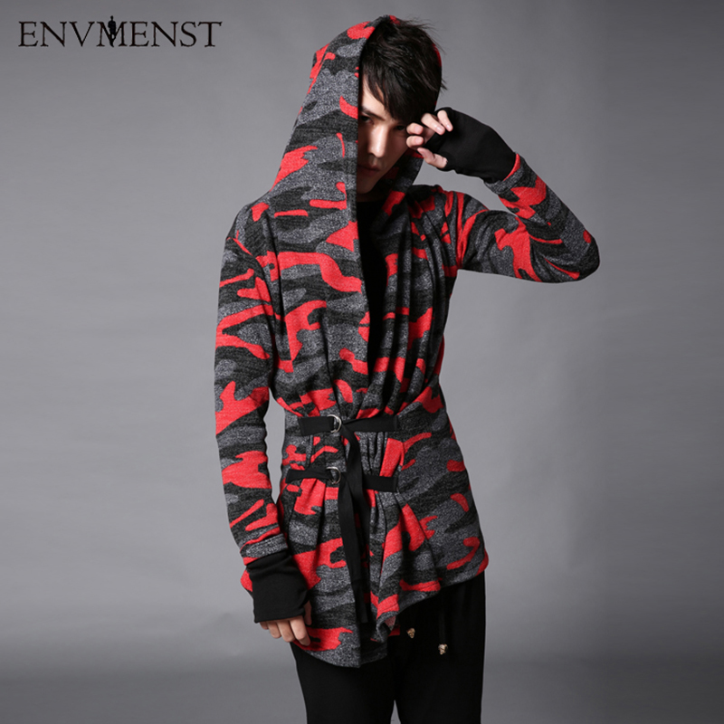2017 Spring Fashion Camouflage Cardigan Mens Hooded Sweatshirt Hold Hand Designed Hoodies Mens Streetwear Red Green Color