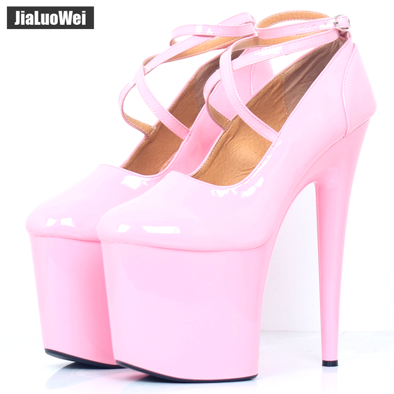 JIALUOWEI Extreme 20cm High Spike Heel Thick Platform Patent Pointed Toe Ankle Strap Boots - Exotic,Fetish,Sexy,Shoes