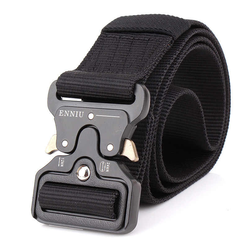 Military Equipment Tactical Belt Men Nylon Knock Off Metal Buckle Army Belt Strap Heavy Duty Soldier Combat Waist Belts