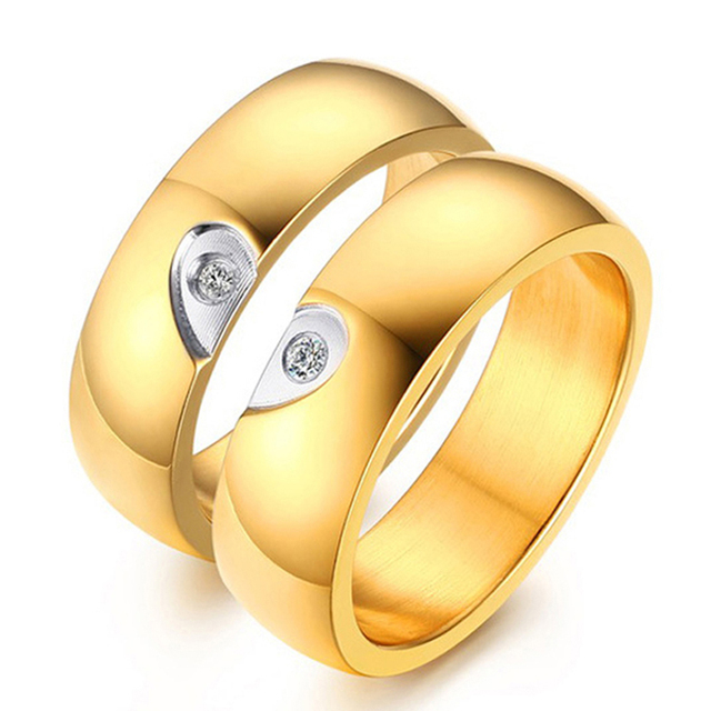 1 Pair 18K Gold Plated Stainless Steel Couples Rings Set with AAA CZ Stones His & Hers Promise Ring Lover Wedding Band