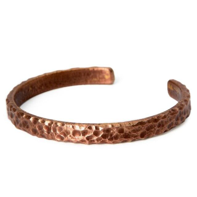 Bracelet rustique Martelé cuivre Viking fait main  5