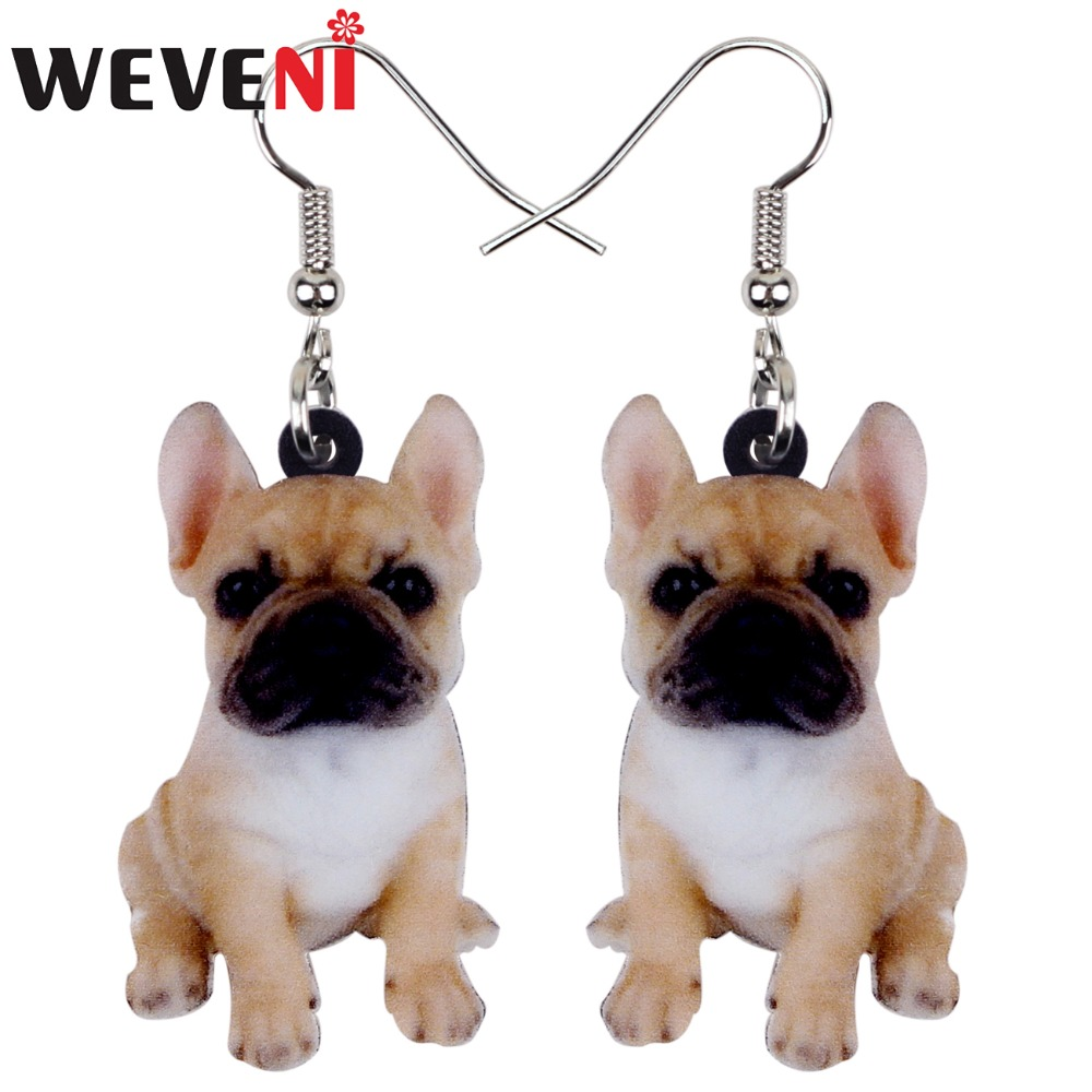 WEVENI Acrylic Sweet Sitting French Bulldog Dog Earrings Big Long Dangle Drop Women Girls Ladies Fashion Anime Jewelry Bulk Pets(China)