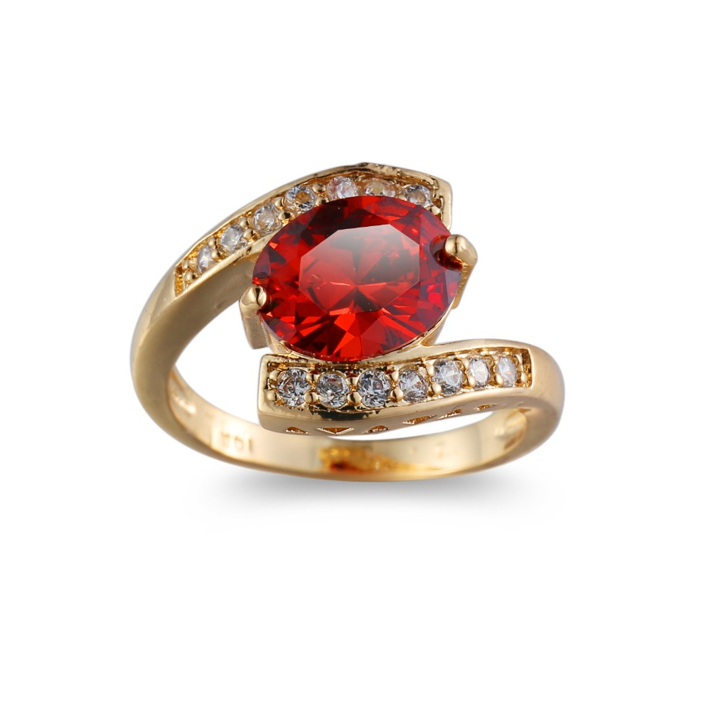 Female Girls Geometric Red jewel Filled & Gold Ring Promise Wedding Engagement Rings For Women Best Gifts