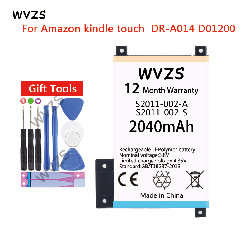 b3466c335 Wvzs 2040 mAh Li-polímero de S2011-002-A para Amazon kindle touch DR-A014  S2011-002-S D01200 Ebook de reemplazo de la batería - a.gogorillago.me