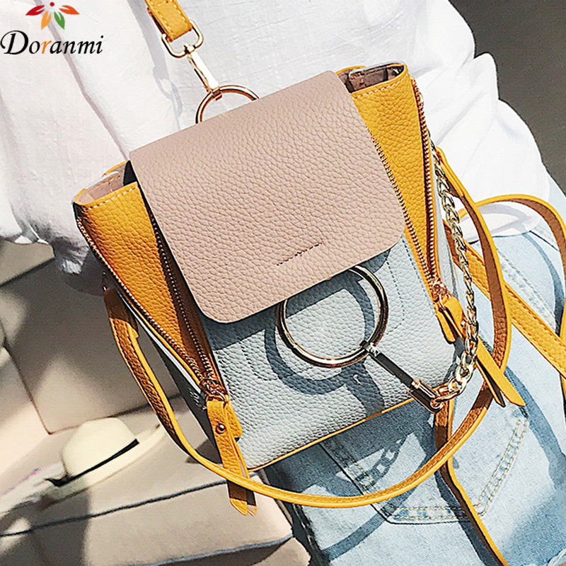 Doranmi Contrast Color Backpack Female Luxury Brand Designed Mini Backpack Round Ring Schoolbag Pu Leather Women Backpack Sjb077