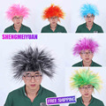 FESTNIGHT 4 Colors Straight Synthetic Hair Halloween Masquerade Adult Clown Afro Wig Party Cosplay Costume Football Fans Wig
