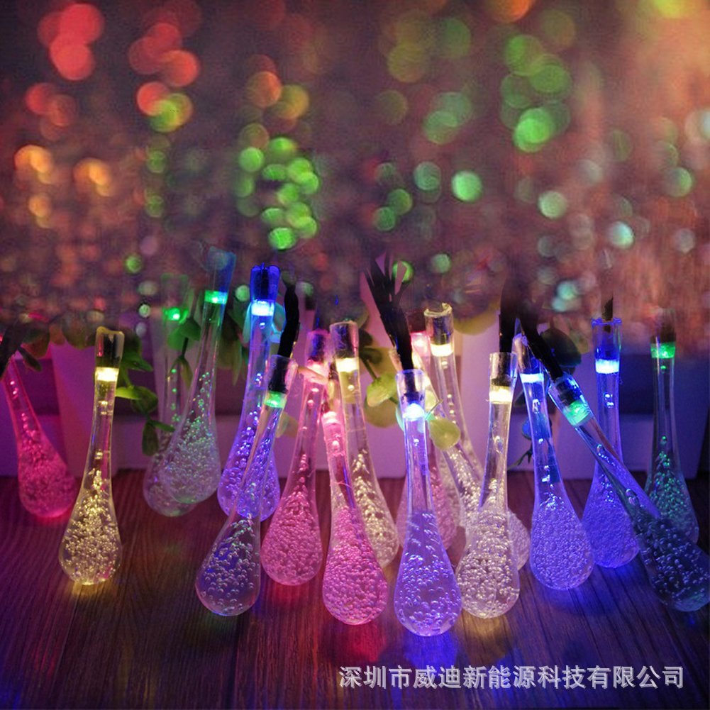 20LED water drop lamp string Christmas decorative garden landscape lamp outdoor lantern solar energy lamp