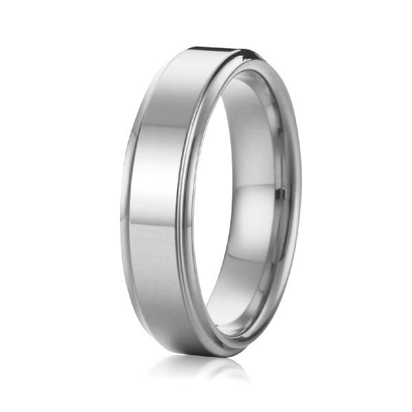 Handmade Custom 6mm High Polishing White Gold Color Masculine Men Wedding Band Ring Anium Jewelry