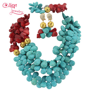 Gorgeous African Nigerian Wedding Beads Jewelry Sets Necklace Bracelet Earrings Sets  TL1312