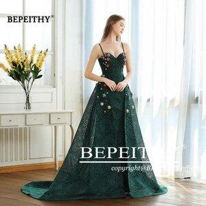 Image 4 - BEPEITHY ירוק תחרה ארוך שמלות נשף ספגטי רצועות עם פרחים 2020 vestido דה Festa שמלת ערב מסיבת שמלת מכירה לוהטת