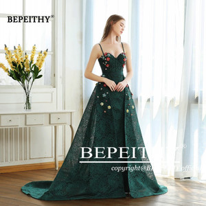 Image 4 - BEPEITHY Green Lace Long Prom Dresses Spaghetti Straps With Flowers 2020 Vestido De Festa Evening Dress Party Gown Hot Sale