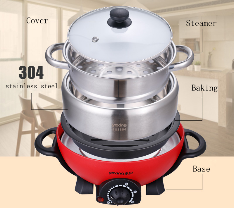 High Quality!! 304 Stainless steel hot pot 3L/5L household multi-function electric heating pan mini food cooker With steamer hammer shaped stainless steel multi function mini pocket toolkit with carrying pouch