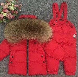 Image 2 - 子供の少年少女子供の赤ちゃんの余分な厚いダウンジャケットはフルの動物の毛の襟のスキースーツトップとズボン