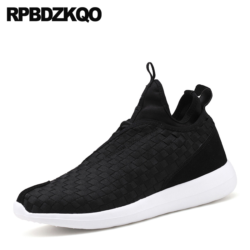 High Top Lace Up Black Breathable Blue 2018 Braided Men Woven Comfort Designer Casual Shoes Sneakers Brand Trainers Walking woven detail lace up trainers