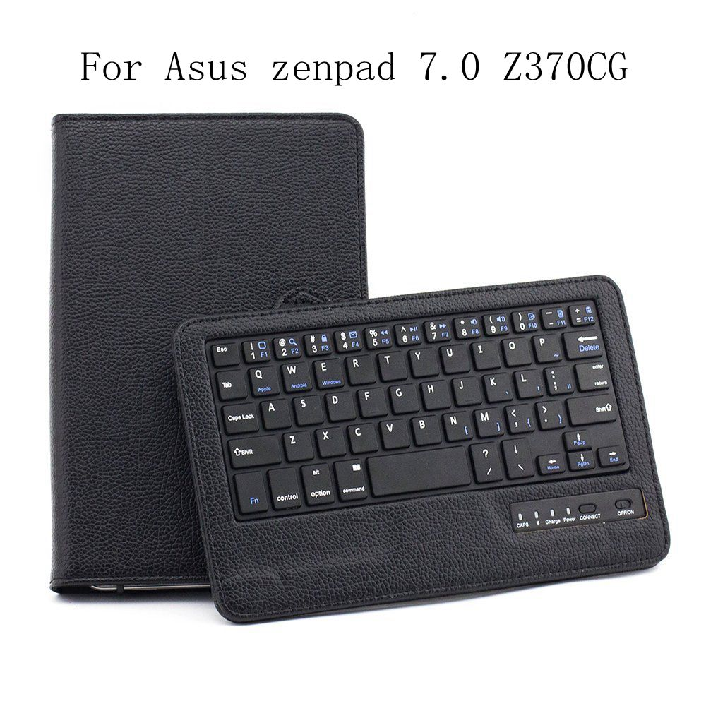 Magnetic Removable Detachable Bluetooth Keyboard Flip Leather Stand Case For Asus zenpad 7.0 Z370CG Cover Funda+Stylus Pen+Film.